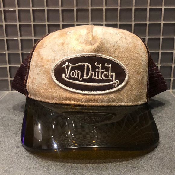 Von Dutch Accessories - Vintage 90s Von Dutch Visor Hat Brown/Leather NWOT